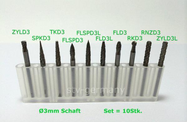 Frässtift Set Box 10 x D= 3mm Schaft, Fräsen, Drehen NEU