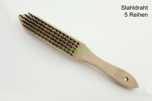Drahtbürste Holz Handbürste Holzgriff Stahldraht 5x Reihen